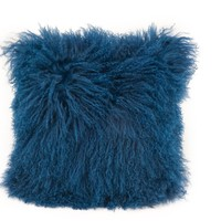 Lamb Fur Pillow Blue 100% Wool Front 100% Polyester Back