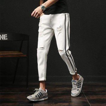 Summer New Pants Men Jeans 2018 Brand Designer Fashion Slim Fit Ripped Denim Pant Boys Side Stripe Ankle Length Men's Trousers