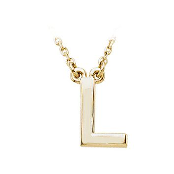 14K Yellow Gold, Kendall Collection, Block Initial L Necklace, 16 Inch