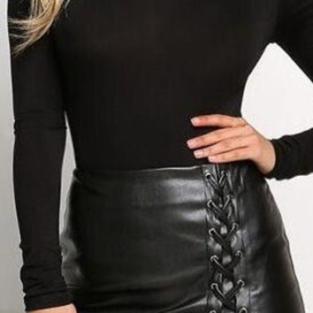 Black PU Lace Up Split Short Slim Skirt