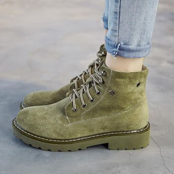 Solid Color British Martin Suede Retro Flat Short Boots
