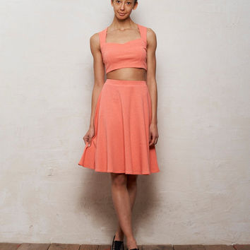 Mix n Match Kirsten Bralet and Skater Skirt Set in Pastel Coral Pink