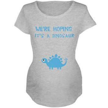 PEAPGQ9 We're Hoping It's a Dinosaur Boy Maternity Soft T Shirt