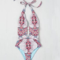 Hot summer swimwear Print Floral Swimwear One Piece Swimsuit Bathing Suit-0529