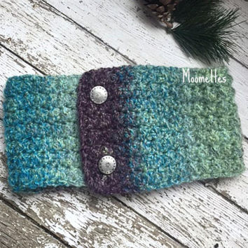Handmade Fair Isle Ponytail Ear Warmer Headband Teal Violet Purple Crochet Nordic Earwarmer Messy Bun Warmer Wrap Head Band
