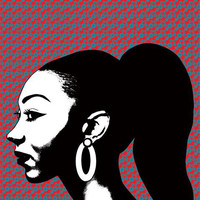 African lady black woman printable original art print instant digital download image graphics ethnic circles black and white artwork