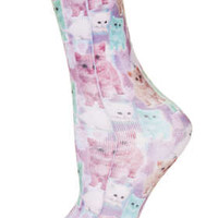 DIGITAL SPARKLE CAT ANKLE SOCKS