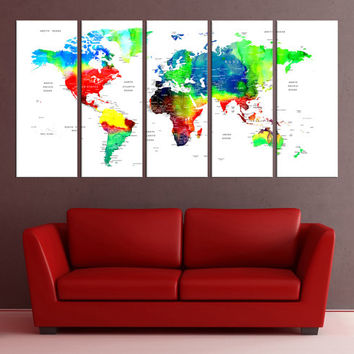Push Pin world map canvas print, world map push pin with countries, world map wall decal watercolor world map large abstract art No:6S96