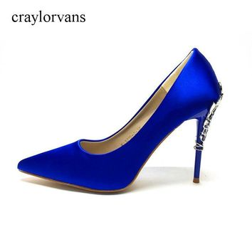 High Heels Women Pumps Blue Sexy Pointed Toe High