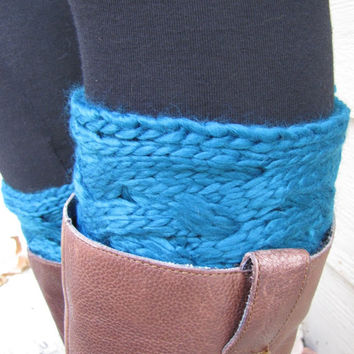 Boot Socks-Buy 2 get 1 FREE-Boot Cuffs-Full boot Sock sock Included- Topper-Boot Sock-Peacock Blue- Large Cable Knit -Full sock included