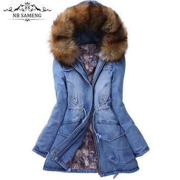 Winter Women Jacket 2017 Big Yards Long Thick Denim Cotton-padded Parka Casual Winter Coat Women Hooded Fur Collar Coat ZL043