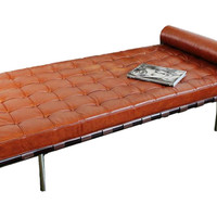 "Taylor Burke Home, Mulholland 67"" Leather Lounger, Brandy, Daybeds"