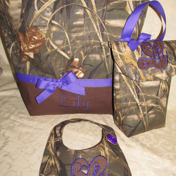 Custom Handmade advantage max 4hd camo camoflauge diaper bag set bib and soft wipes case purple you choose name