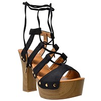 Womens Platform Sandals Gold Studded Lace Up Wood Chunky High Heel Shoes Black
