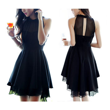 Sexy Halter Chiffon Round Collar Dress Cocktail Dress Party Dress