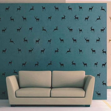 kik3021 Wall Decal Sticker Set of 80 Running deer 3 x 4 Polka Dot Wall Decor Sticker Decal Any Room
