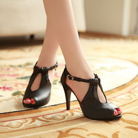 Ankle Wrap Sandals Peep Toes Women Pumps High Heels Spike Shoes Woman