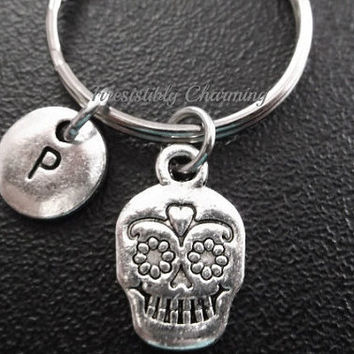 Sale...Sugar skull, gothic keyring, keychain, bag charm, purse charm, monogram personalized custom gifts under 10 item No.660