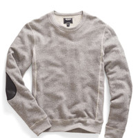 Leather Patch Sweatshirt in Grey Mix