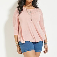 Plus Size Geo-Embroidered Top