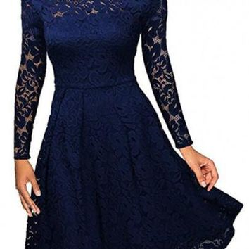 Royal Blue Lace Pleated Hollow-out Off Shoulder Long Sleeve Party Midi Dress