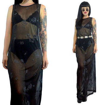 vintage 90s black sheer mesh maxi dress rose print glitter sparkle metallic floral soft grunge cyber grunge gothic vamp small medium