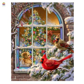 Frameless Digital Painting By Numbers Christmas Window Birds Floral Acrylic Paint Modern Wall Art Painting Home Hotel Deco deal
