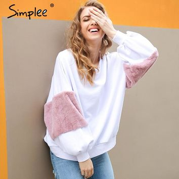 Spring faux fur hoodies sweatshirt Casual white sweatshirt women jumper fashion patchwork long sleeve pullover