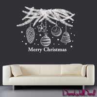 Wall Decals Tree Holiday Decoration Merry Christmas Decoration Snowflakes Vinyl Sticker Decor Surface Graphics By Decals Murals Art Bedroom Design Home Room Gift M1621