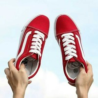 """""""Vans"""" Casual Shoes Men and Lady classic black cloth shoes Red"""