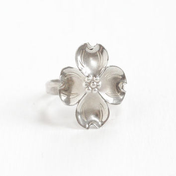Vintage Sterling Silver Dogwood Flower Ring - Retro Hallmarked Stuart Nye Adjustable Floral Statement Jewelry