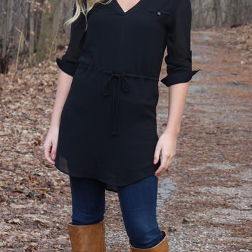 Cambria 3/4 Sleeve Dress - Black