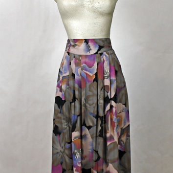 Grey Pleated Skirt / 80s High Waisted Office A Line Midi Skirt / Floral Print Secretary Skirt / 1980s Womens Wear to Work / XS Extra Small