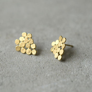 gold cluster earrings, small version, hand made gold earrings, baladi, bridal earrings, bridesmaid jewelry, wedding, present for woman, vine