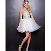 2013 Prom Dresses - White Strapless Diamond Short Prom Dress - Unique Vintage - Prom dresses, retro dresses, retro swimsuits.