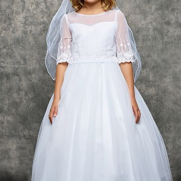 Girls Scalloped Embroidered Mesh Communion Dress w. Illusion Sleeves