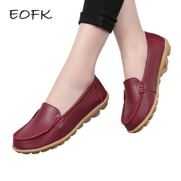 EOFK Women Loafers Women's Leather Shoes Woman Casual Flats  Soft Slip On Flat Shoes Solid Color Female Shoes Plus Size 44