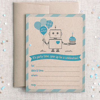 Printed Birthday Invitations, Set of 12 - Robot, Brown & Blue, Fill In, Recycled - For Boys, Party, Shower