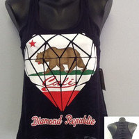 Printed Tank w/ Back Cuts- CALI DIAMOND REPUBLIC