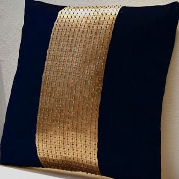 Throw Pillows - Navy Blue gold color block in silk sequin bead detail cushion - sequin bead pillow - 18X18 - Navy blue pillow - gift pillow