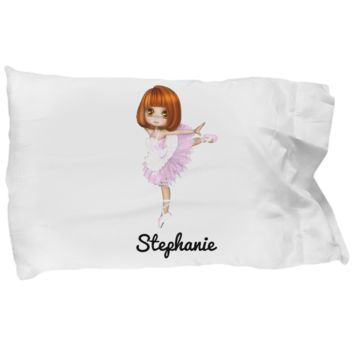 Ballerina Pillow Case for Girls: Personalized Girl Pillowcase - Cute Gift For Kids - Inspirational Bedding for Dancing Fans - Christmas Dance Present & Holiday Gift - Beautiful Name Personalized & Customized Girly Princess Bed Accessory!
