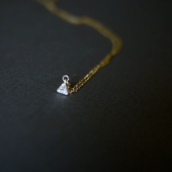 Small Gold Triangle Necklace Tiny Solitaire Necklace Gold and Silver Simple Necklace by Mica - Lex