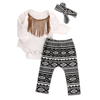 Cute Baby Girls Clothes Set 0-18M Newborn Infant Baby Cotton Tassel Bodysuit Romper Pant Headwear 3pcs Outfit Kids Clothing