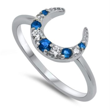 Crescent Moon Ring with Blue Sapphire CZ Size 5-10 in Sterling Silver