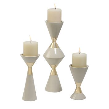 Hourglass Pillar Candleholders - Set of 3