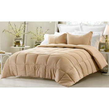 3PC Reversible Solid/ Emboss Striped Comforter Set- Oversized & Overfilled ( 2 Bedding Looks in 1) - Khaki in Full Size