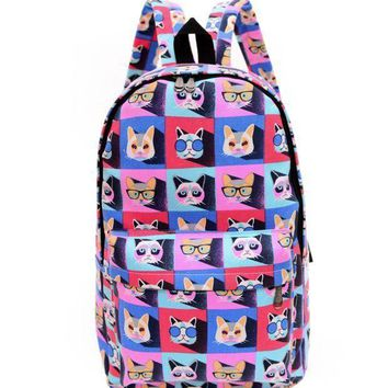 LMFON1O Day First Colorful Cats Printed Canvas Backpack