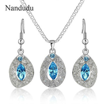 Nandudu Vintage White Gold Plated Wire Mesh Crystals Earrings Necklace Wedding Jewelry Sets Nice Jewelry Gift CN171 CN172