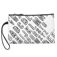 Alphabet Print Sueded Wristlet Black and White