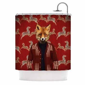"Natt ""Family Portrait N1"" Red Fox Shower Curtain"